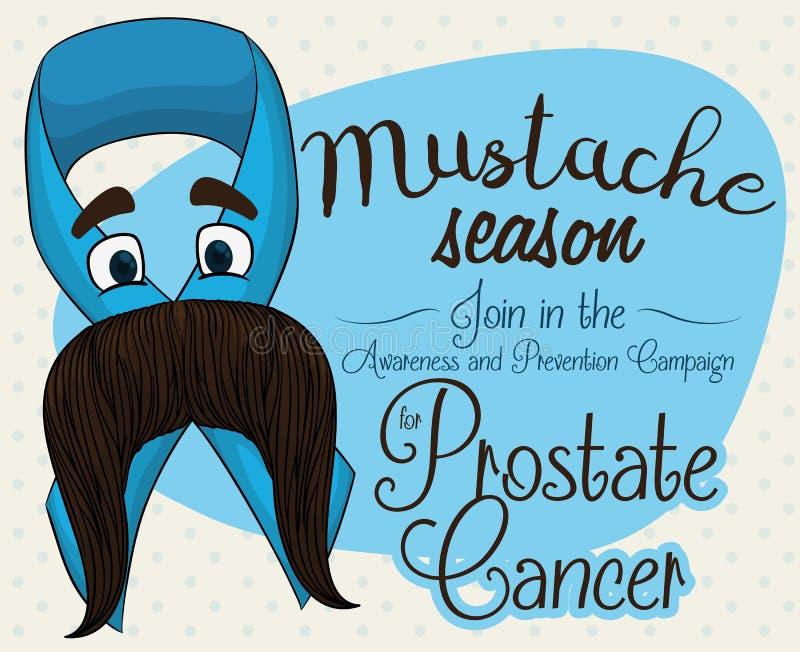 Ruban bleu avec le visage Mustached pour la campagne de cancer de la prostate, illustration de vecteur illustration stock
