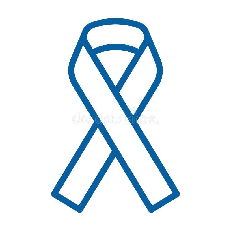 Ruban bleu de conscience Ligne mince illustration de vecteur d'icône Le symbole pour la conscience des différentes maladies mascu illustration de vecteur