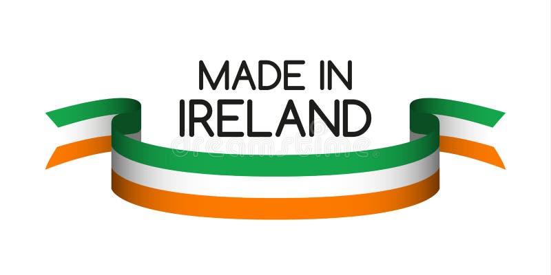 Ruban coloré avec le tricolore irlandais, fait en Irlande illustration libre de droits
