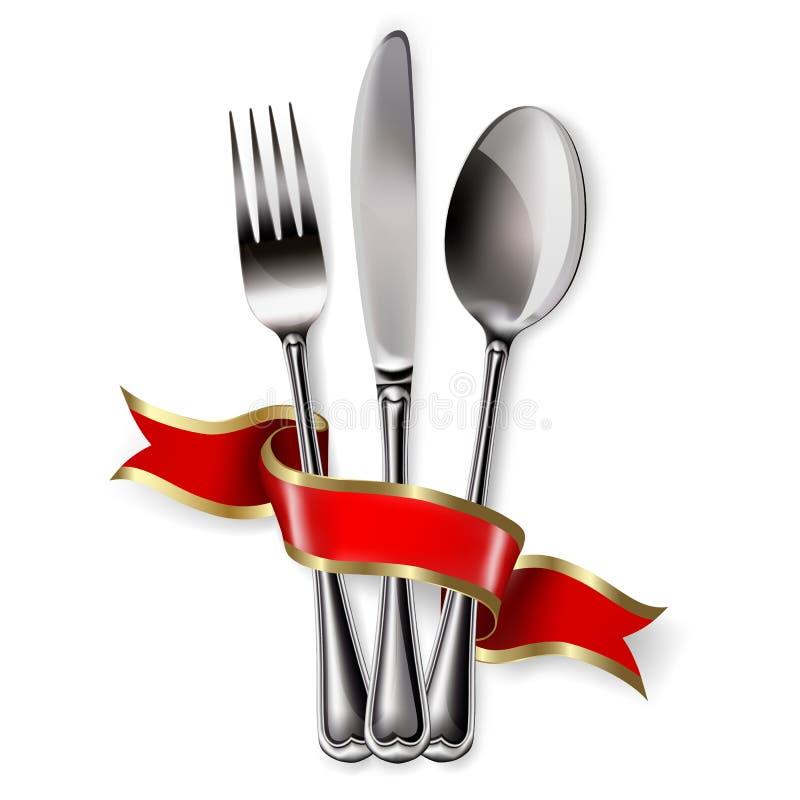 Ruban, cuillère, couteau et fourchette illustration libre de droits