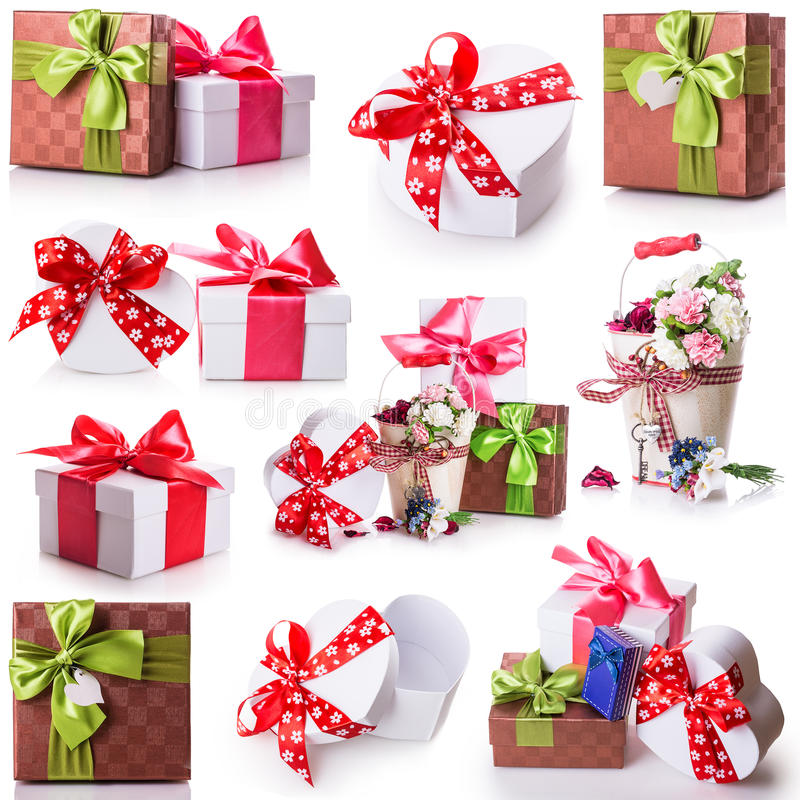Ruban d'arc de boîte-cadeau de fleurs photographie stock libre de droits
