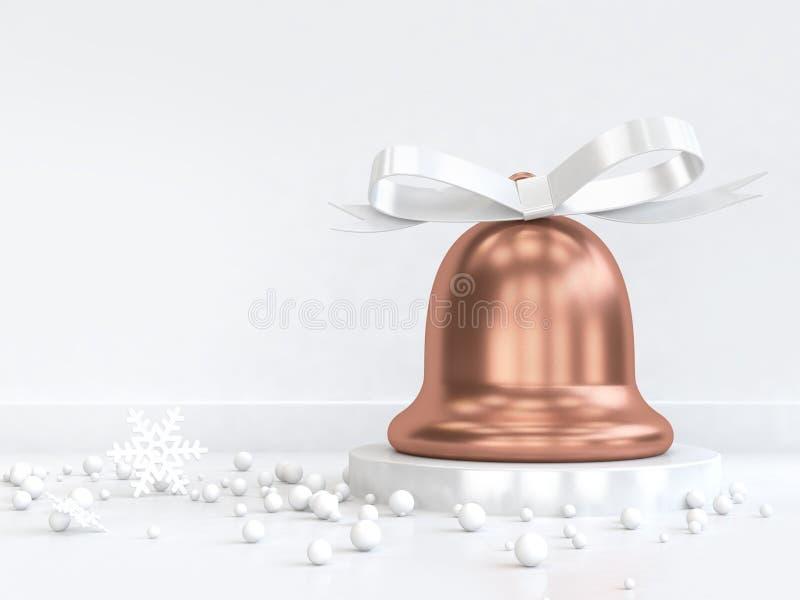 ruban d'arc d'esprit de cloche de Noël d'en cuivre du rendu 3d beaucoup sphère illustration stock