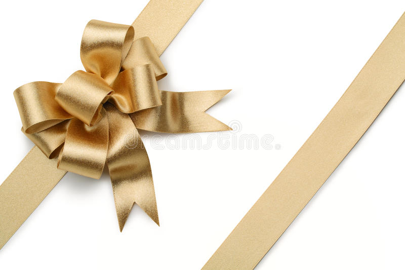 Ruban d'or avec l'arc image libre de droits