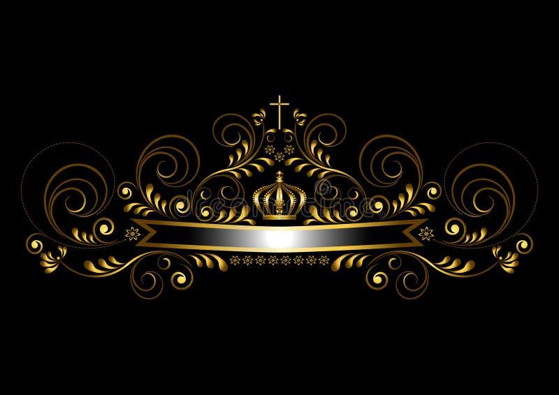 Ruban d'or avec une couronne et une croix sur un fond noir illustration libre de droits