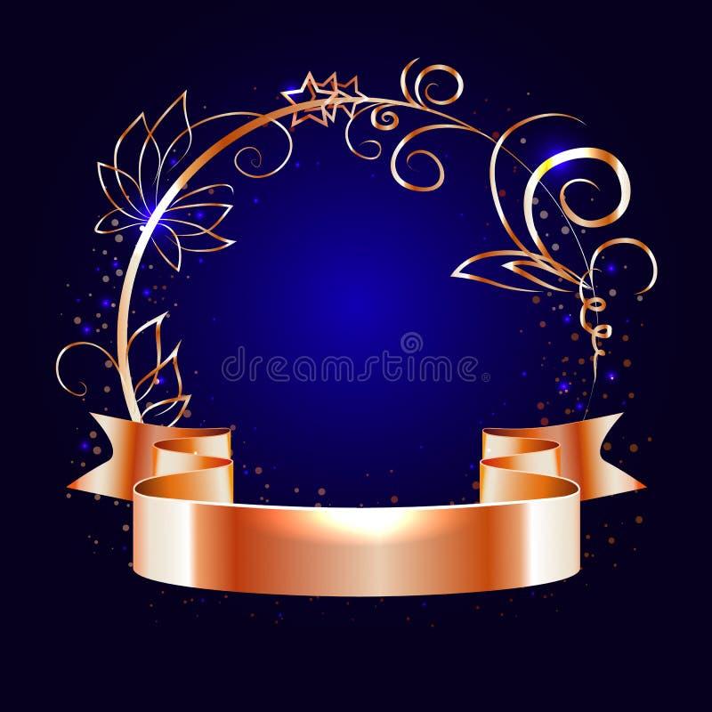 Ruban d'or et cadre rond avec les éléments décoratifs illustration libre de droits
