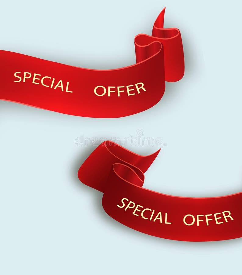 Ruban d'offre spéciale Défilement rouge Étiquette de vente de bannière Remise d'offre spéciale du marché illustration stock