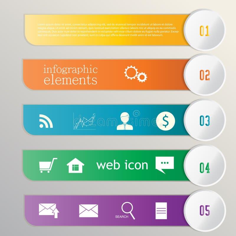 Ruban de bannière. Élément infographic. Icônes de Web illustration stock