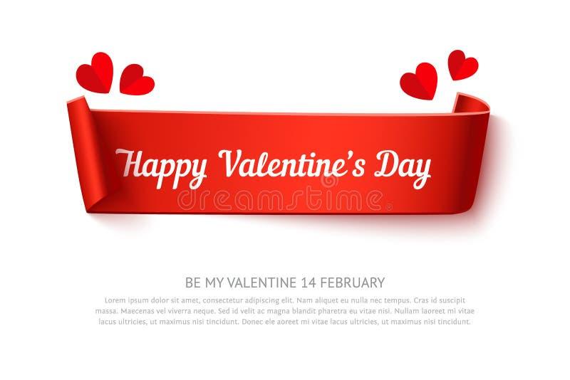 Ruban de boucle de papier de jour de valentines illustration libre de droits