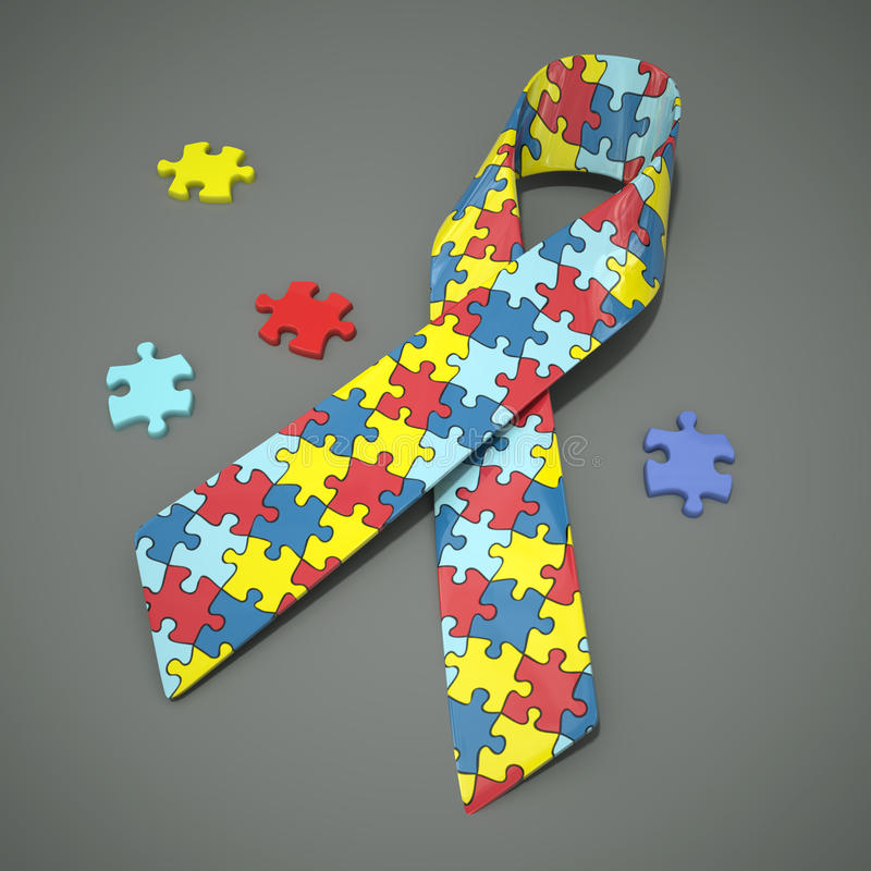 Ruban de conscience d'autisme illustration libre de droits