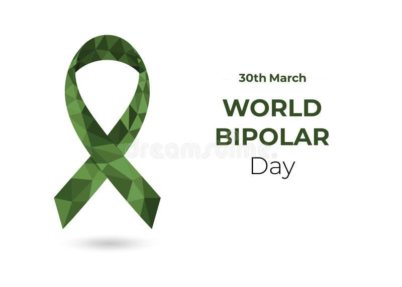 Ruban de conscience du monde bas poly de vert bipolaire de jour illustration libre de droits