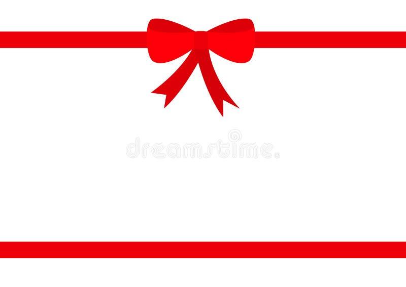 Ruban de deux rouges avec l'icône d'arc de Noël Ensemble d'élément de décoration de boîte-cadeau Calibre de vue Conception plate  illustration stock