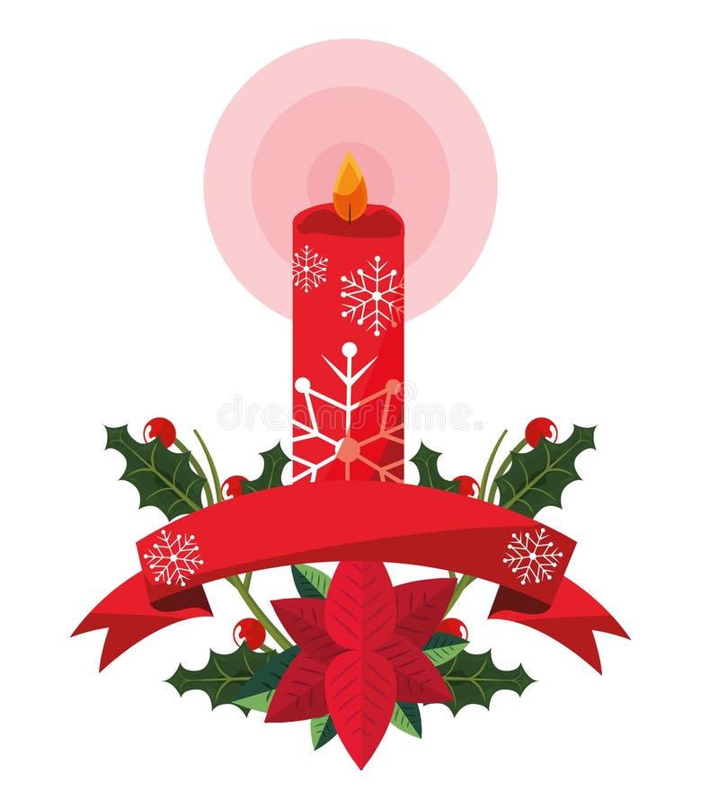 Ruban de fleur de poinsettia de bougie de Noël illustration de vecteur