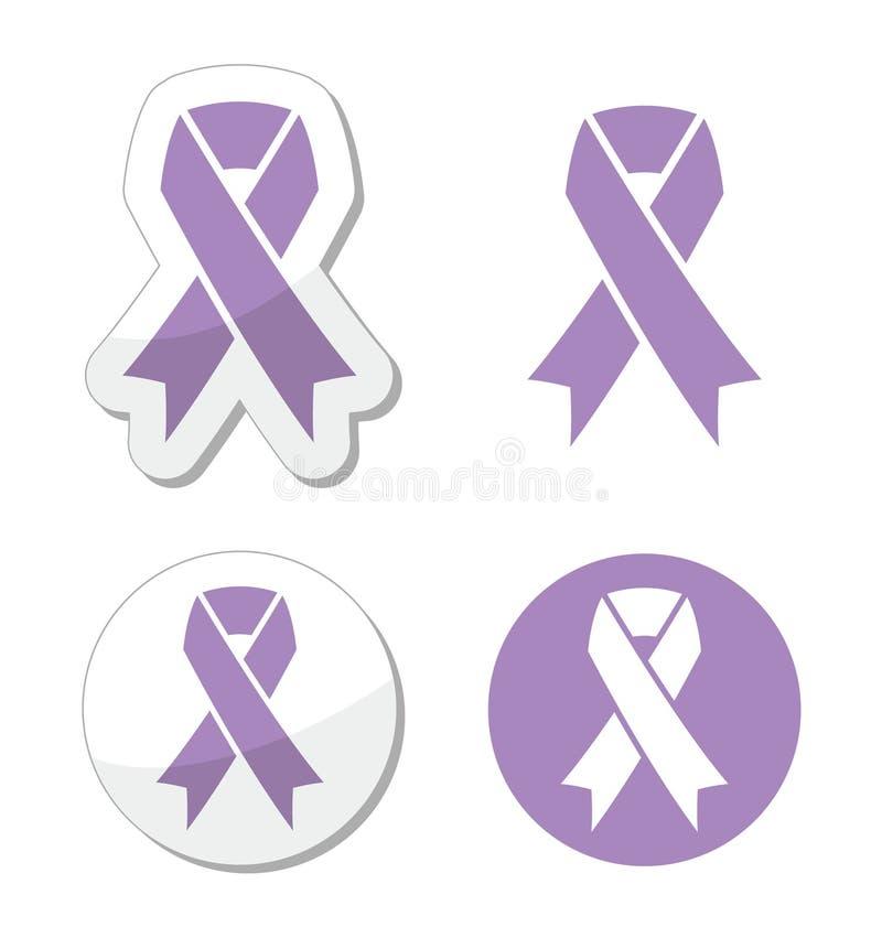 Ruban de lavande - conscience générale de cancer illustration stock