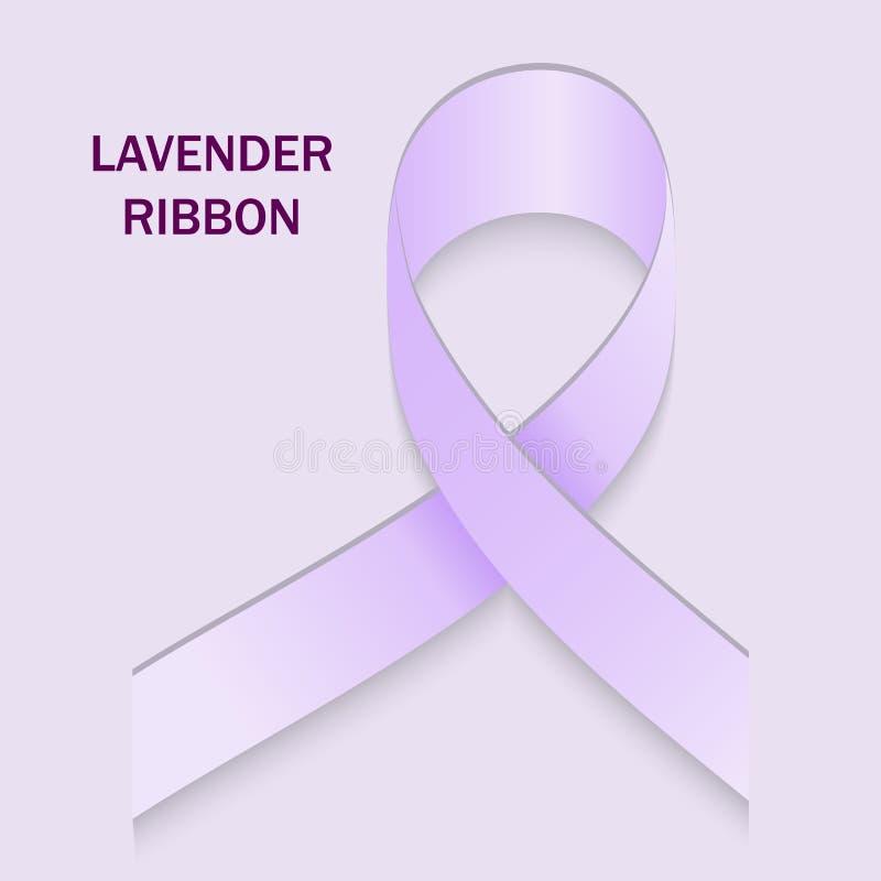 Ruban de lavande Le symbole du problème du cancer de toutes les sortes et épilepsie illustration de vecteur