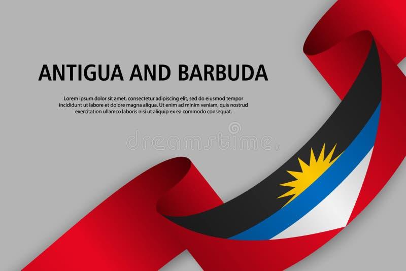 Ruban de ondulation avec le drapeau de l'Antigua-et-Barbuda illustration libre de droits