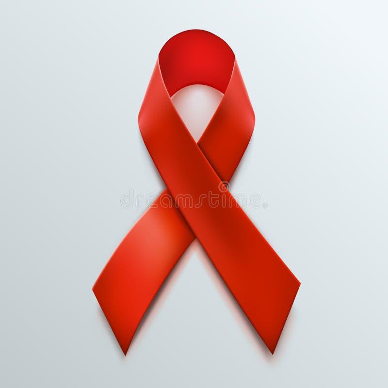 Ruban de rouge de conscience d'HIV Concept de Journée mondiale contre le SIDA illustration libre de droits