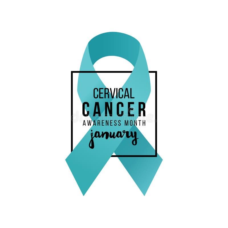 Ruban de soutien de cancer du col de l'utérus illustration libre de droits