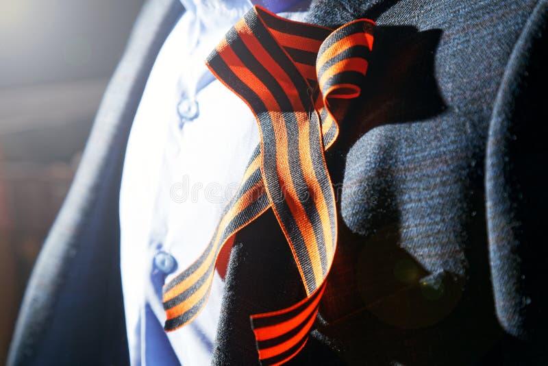 Ruban du ` s de St George sur le revers de la veste photo libre de droits