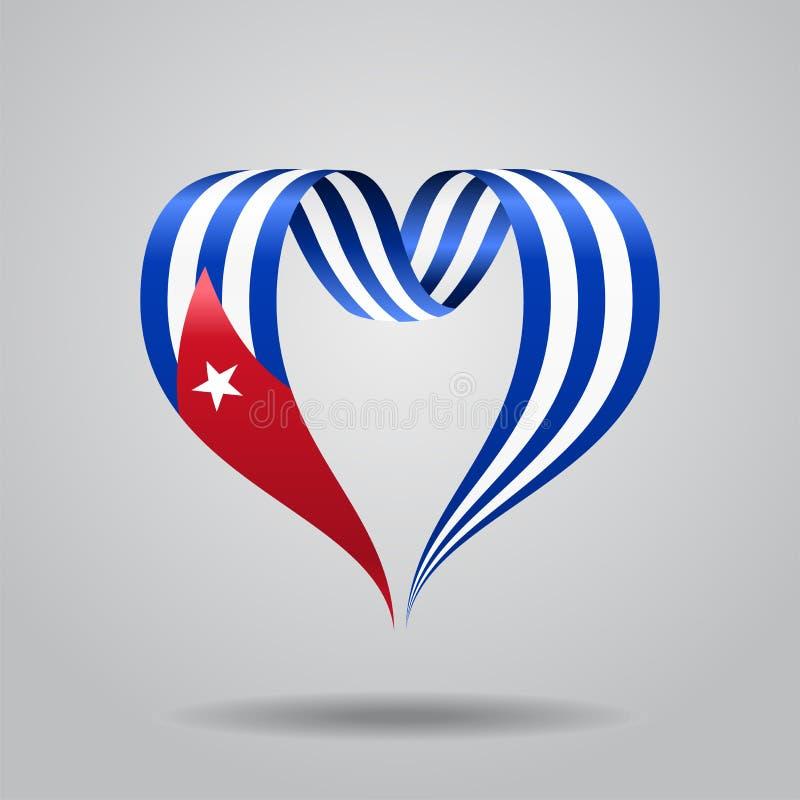 Ruban en forme de coeur de drapeau cubain Illustration de vecteur illustration stock