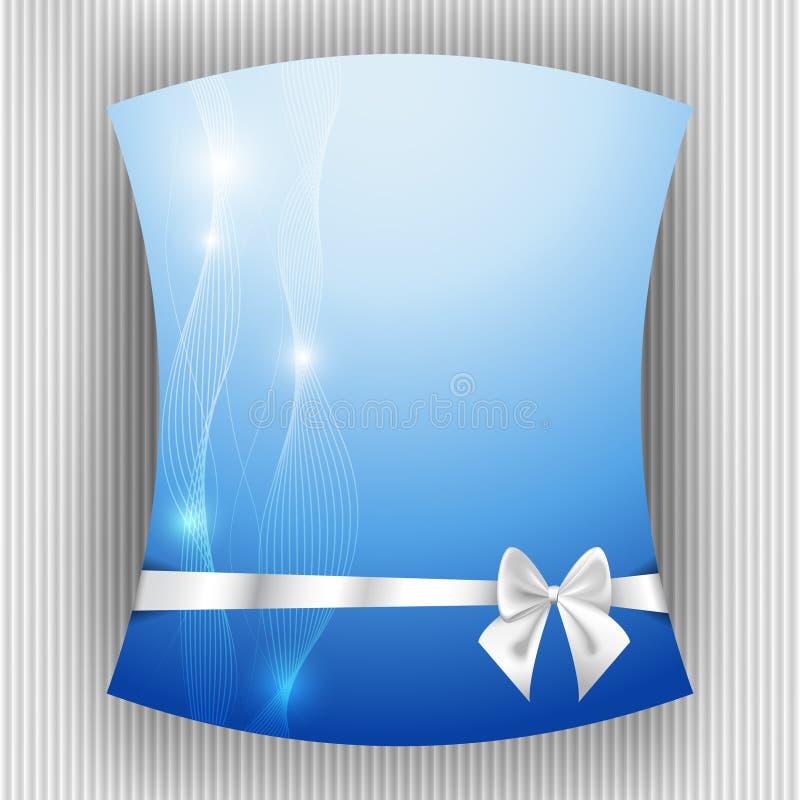 Ruban et arc blancs sur le fond bleu illustration stock