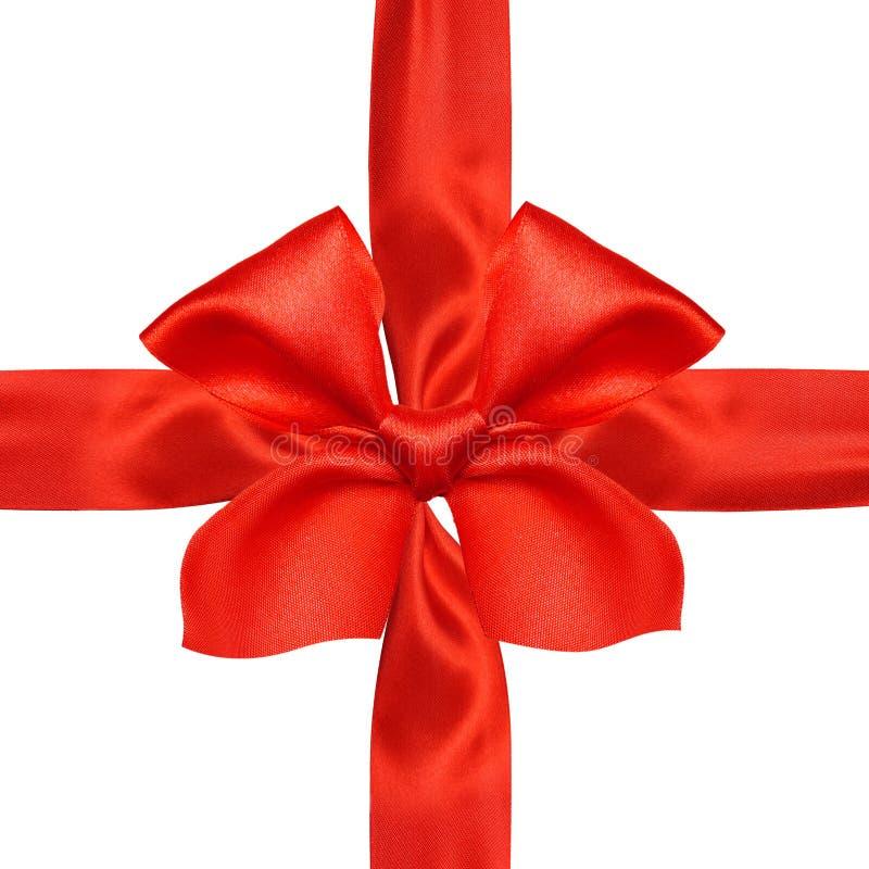 Ruban et arc rouges de satin image libre de droits