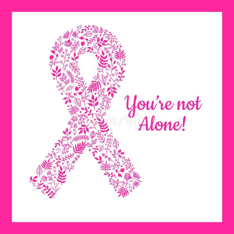 Ruban fleuri de cancer du sein Fleurs tirées par la main de griffonnage illustration libre de droits