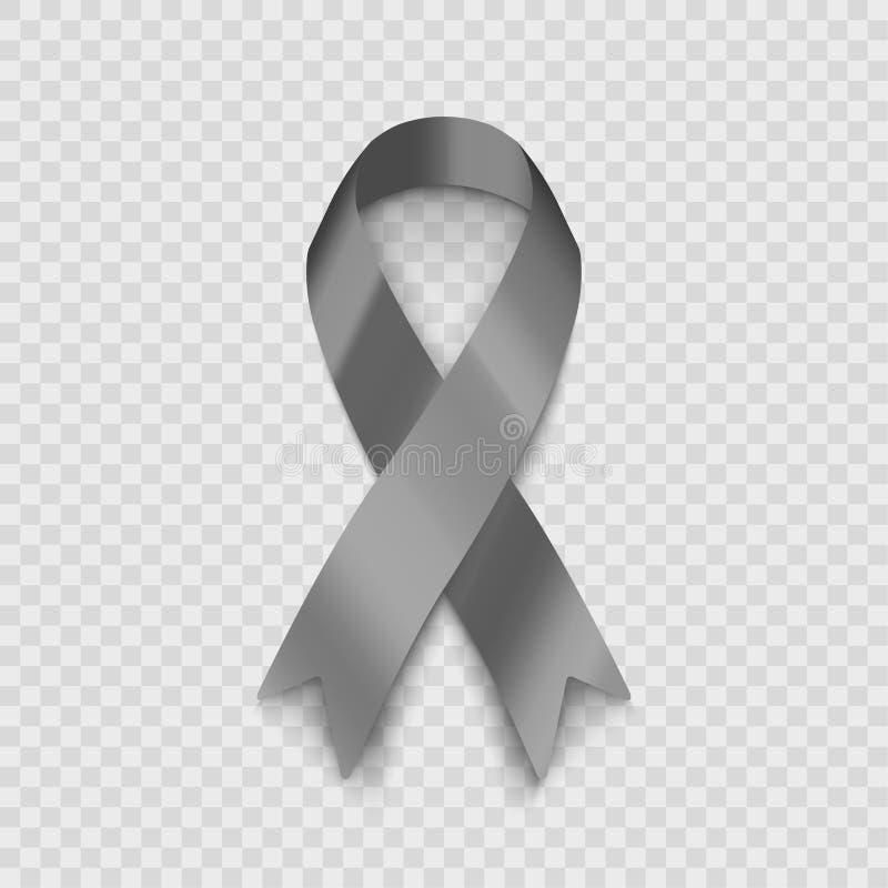Ruban gris d'illustration courante de vecteur d'isolement sur le fond transparent Le problème du diabète Le problème du cancer du illustration de vecteur