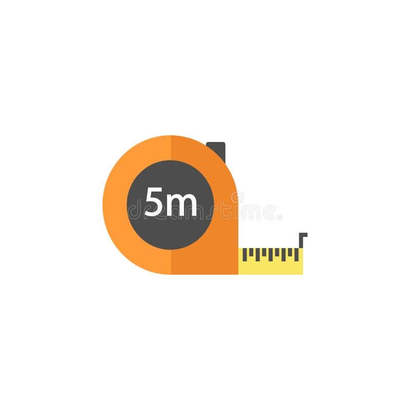 Ruban métrique d'icône plate, éléments de réparation de construction illustration stock