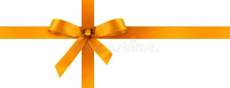 Ruban orange de cadeau de satin avec l'arc décoratif - bannière de panorama image stock