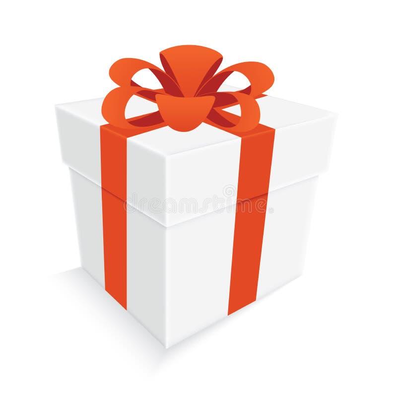 Ruban orange et boîte-cadeau blanc d'isolement illustration stock