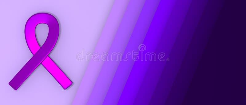 Ruban pourpre comme symbole de fond de coupe de papier de jour de conscience d'épilepsie avec l'illustration de l'espace 3D de co illustration stock