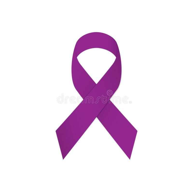 Ruban pourpre sur un fond blanc Cancer du testicule illustration stock