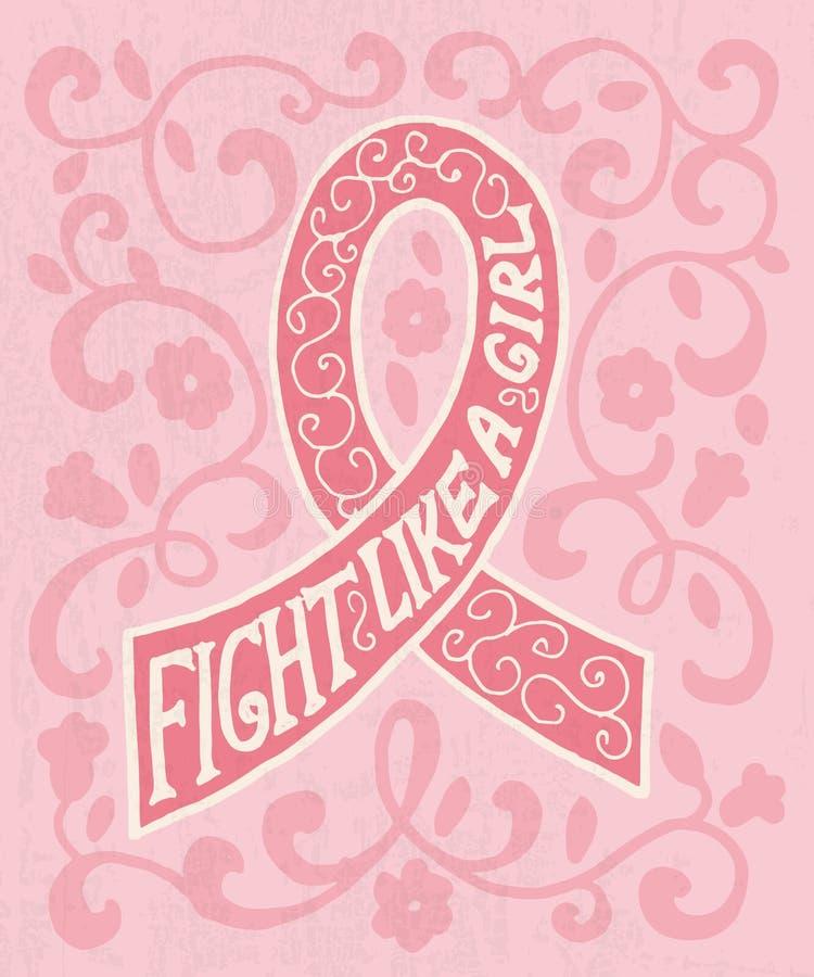 Ruban rose avec l'affiche tirée par la main de typographie illustration stock