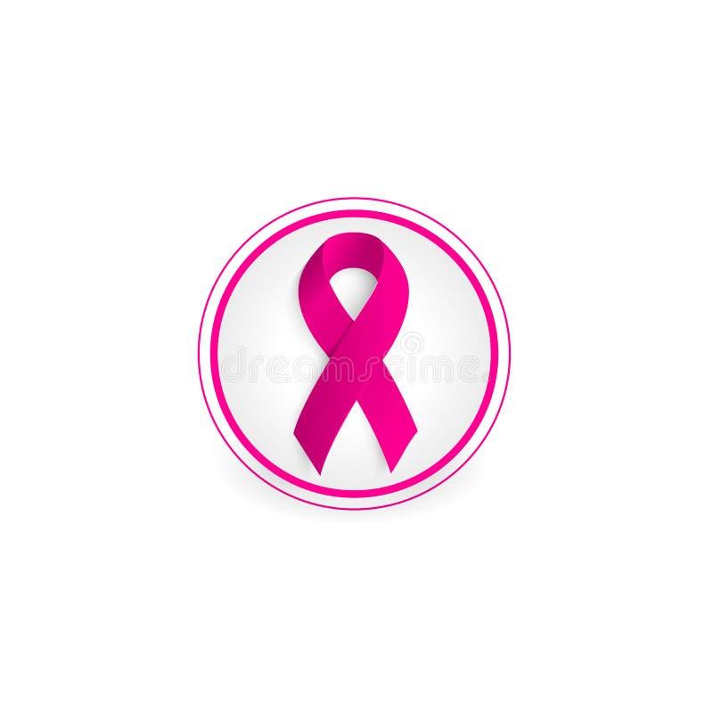 ruban rose de couleur en cercle sur le logo blanc de fond illustration libre de droits