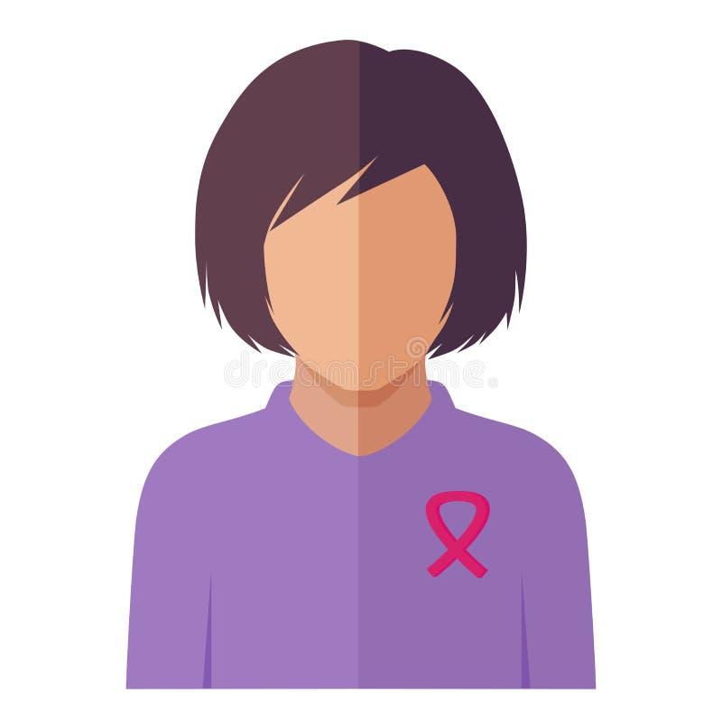 Ruban rose du cancer du sein, cause de femme, la maladie femelle illustration stock