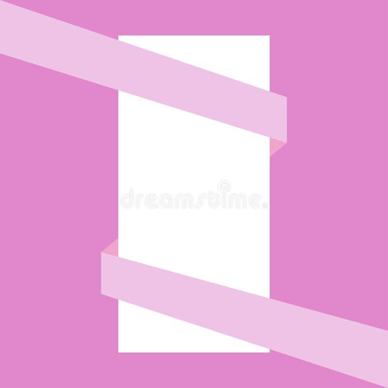 Ruban rose enveloppant la feuille de papier blanche illustration stock