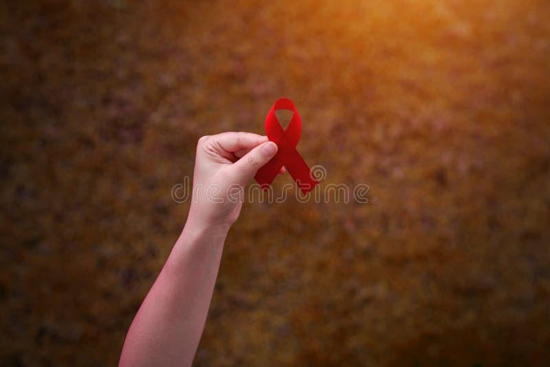 Ruban rouge chez des mains des femmes pour le concept de Journée mondiale contre le SIDA image stock
