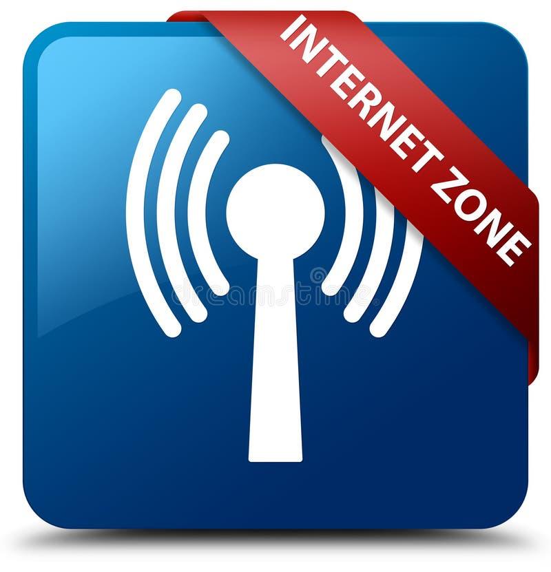 Ruban rouge de bouton carré bleu de zone d'Internet (réseau wlan) dans la Co illustration stock