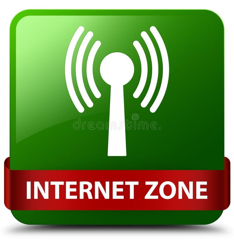 Ruban rouge de bouton de place de vert de zone d'Internet (réseau wlan) en m illustration libre de droits