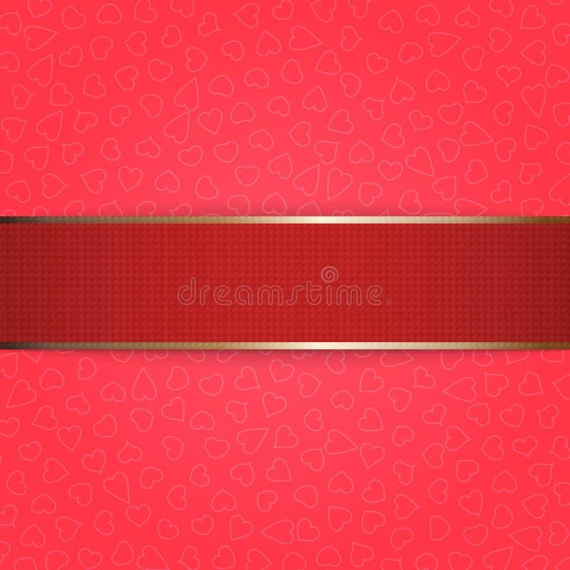 Ruban rouge de jour de valentines sur le fond rose illustration libre de droits