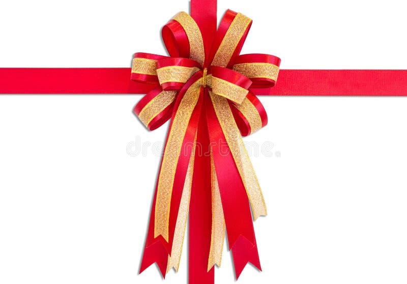 Ruban rouge et arc de cadeau, d'isolement sur le fond blanc photographie stock libre de droits