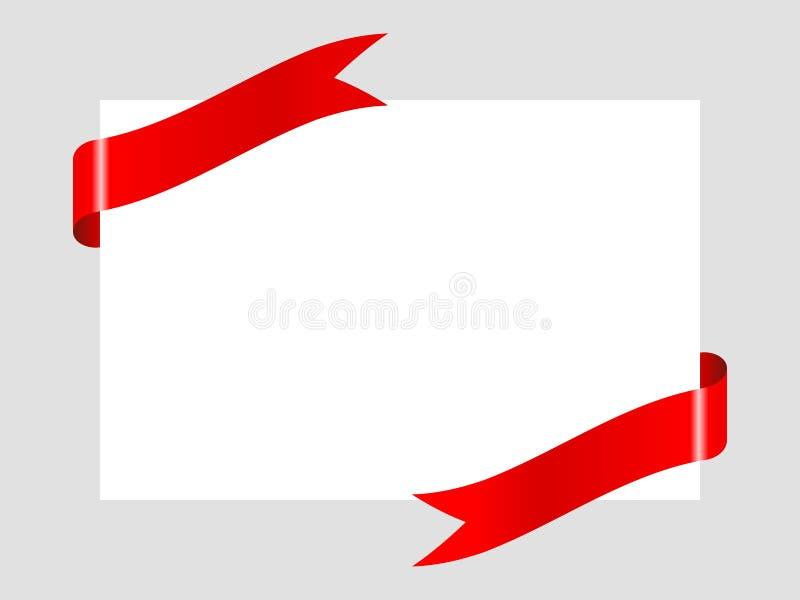 Ruban rouge sur fond de papier blanc pour célébrer, bonne nouvelle année, Noël, Saint-Valentin illustration stock