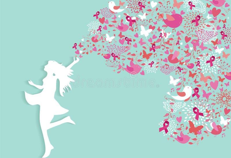 Ruban sain de rose de silhouette de femme de cancer du sein illustration stock