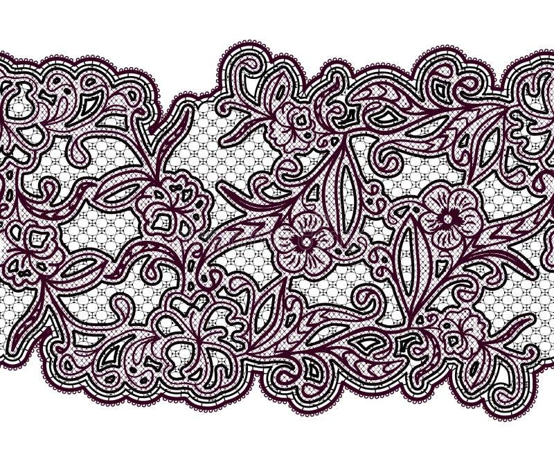 Ruban sans couture de dentelle Modèle floral noir et pourpre sur le fond blanc illustration de vecteur