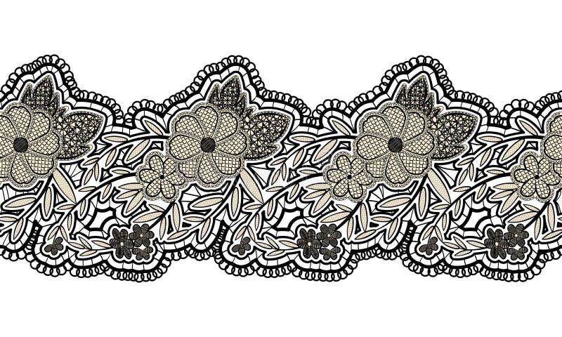 Ruban sans couture noir de dentelle sur le fond blanc Frontière sans couture florale pour la conception illustration stock