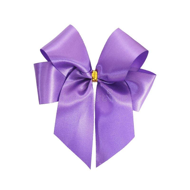 Ruban violet d'arc d'isolement sur le fond blanc photos stock