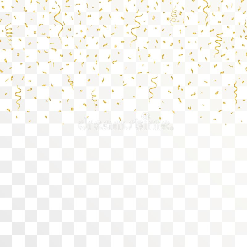 Rubans d'or de confettis et d'or sur le fond transparent Vecteur illustration stock
