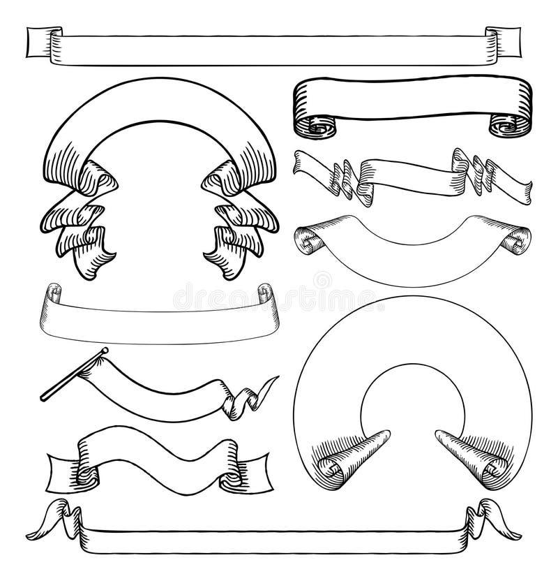 Rubans d'imprimante par ligne et bannières réglés illustration de vecteur