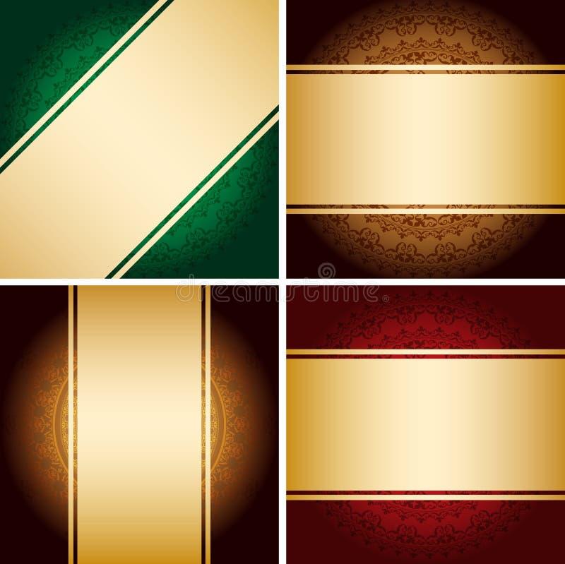 Rubans d'or lumineux sur des milieux de cru avec le gradient - ensemble de vecteur illustration stock