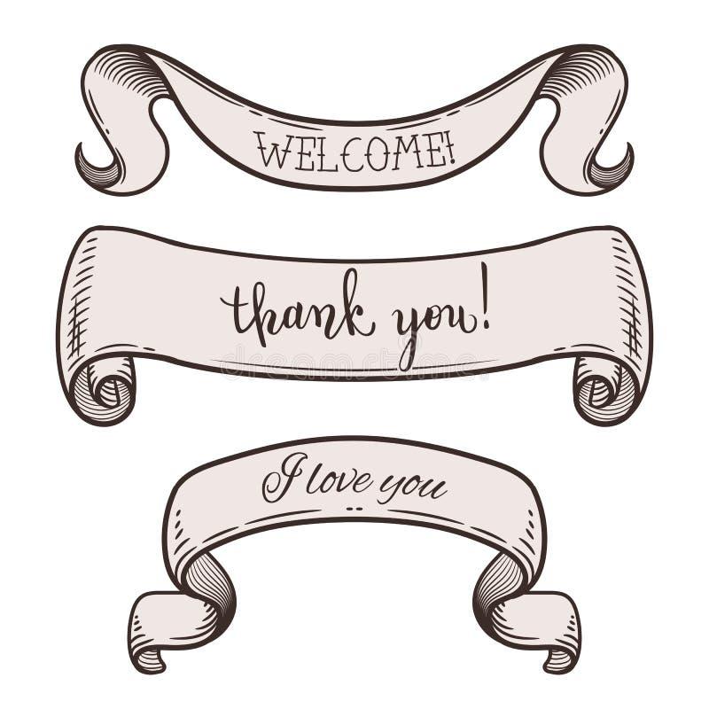 Rubans de cru avec des messages : accueillez, merci, je t'aime Positionnement d'?l?ments d?coratif Illustration de vecteur illustration de vecteur